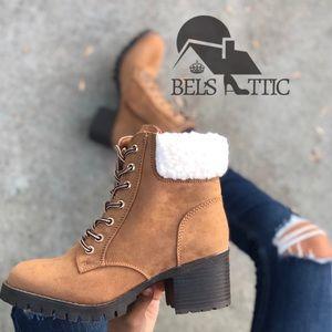 Tan Fur Combat Military heeled boots